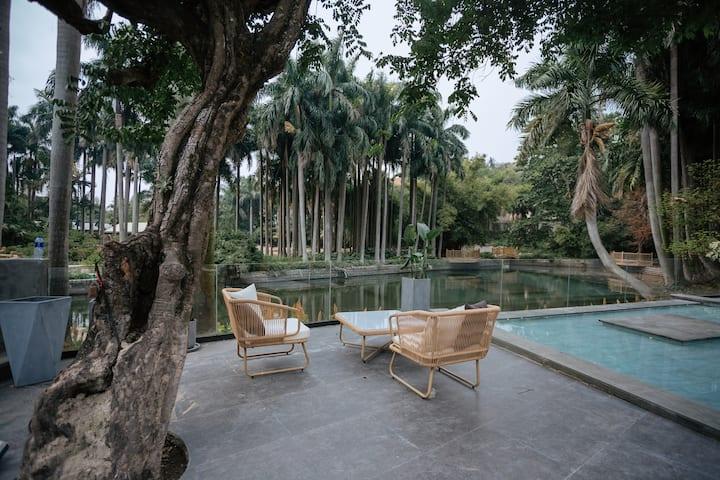 带花园泳池,近内厝澳码头、美华沙滩、日光岩等景区超大庭院隐庐双床房