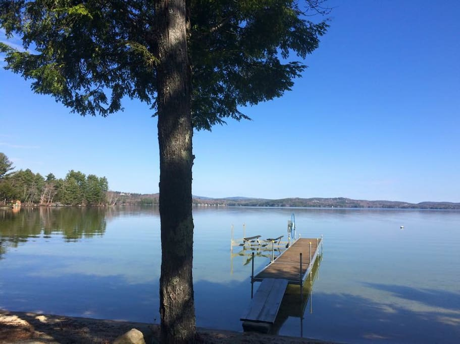 Morning view to the west, dock is with property and available for guest use. Mooring is available for your boat up to a 20 ft pontoon (18 ft runabout or bowrider).