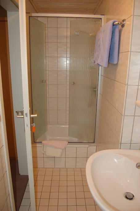 Bad mit Dusche und WC vom Schlafzimmer aus erreichbar