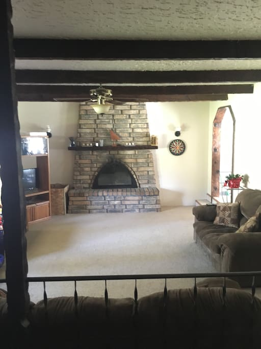 Large living room, Cozy fireplace when we have time to build fires!