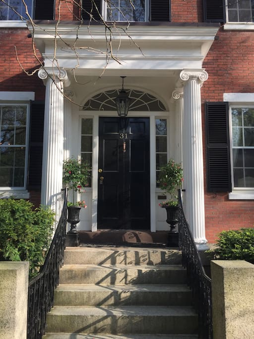Entering our house you experience a classic high federal doorway with 200 year old columns.