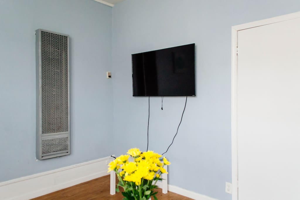 Wall mounted TV with Cable and HBO