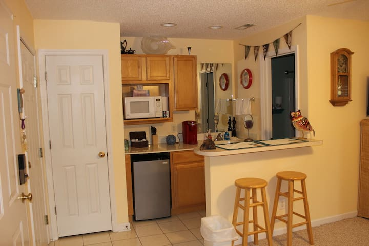Kitchenette with dorm fridge, bar sink, and microwave. Sorry no range or cooktop
