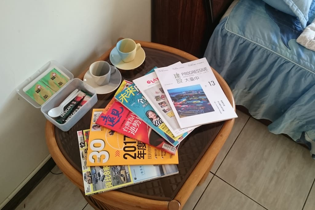 Free Tea Bag & Instant Coffee. Free magazines for read.