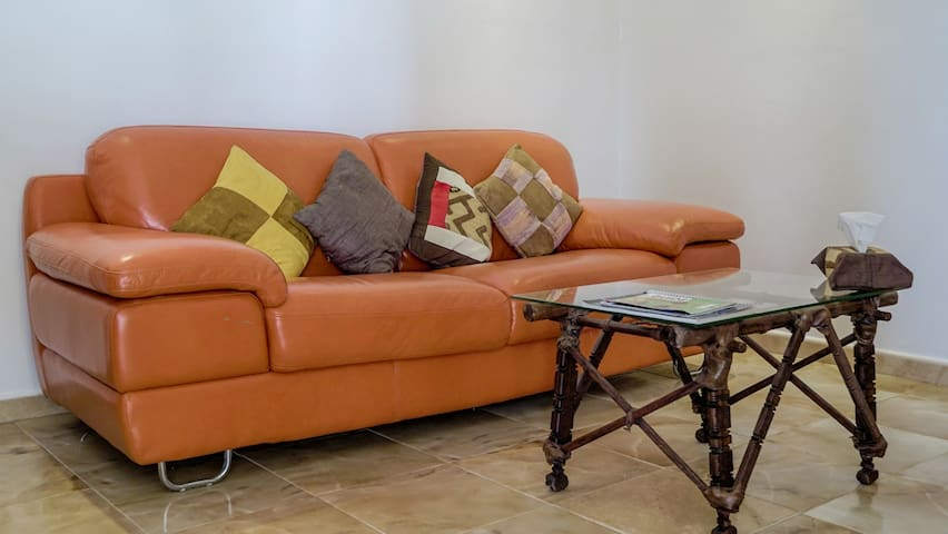 Our sofa is comfortable to relax, work or just watch TV.