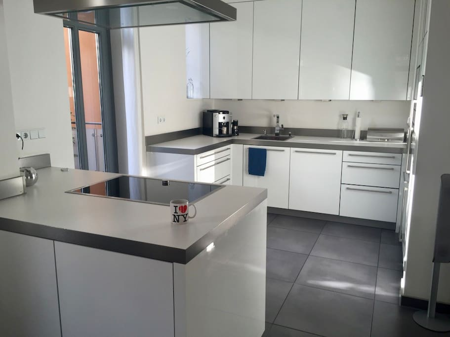fully equipped kitchen with dishwasher, oven, microwave, fridge, freezer and induction stove top