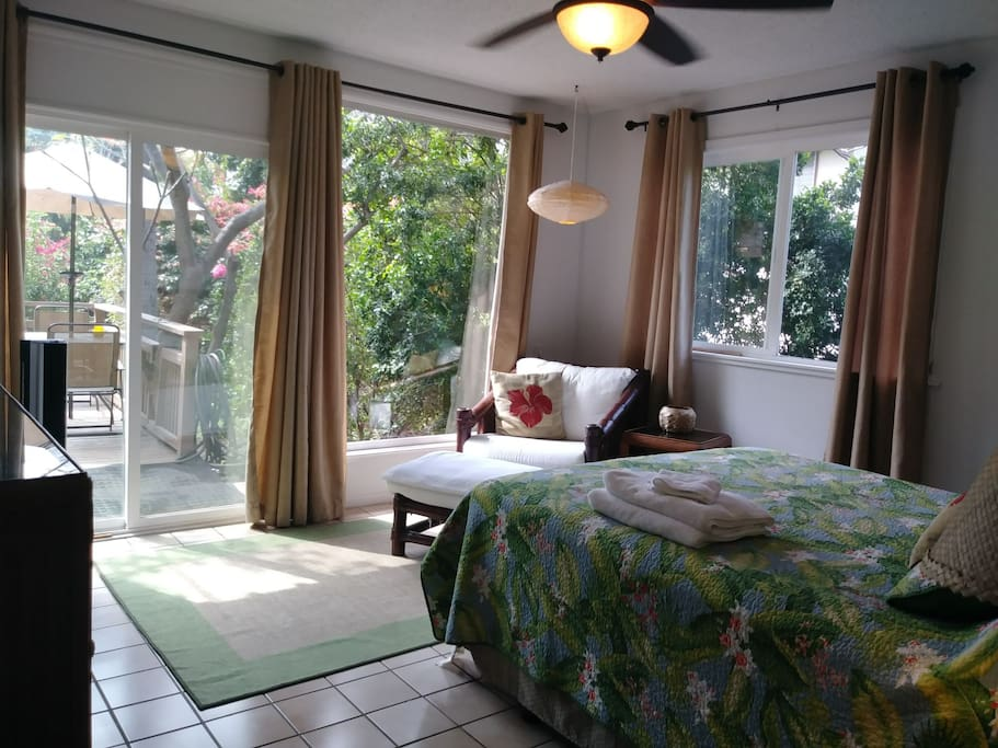 Bedroom with garden deck and seating area