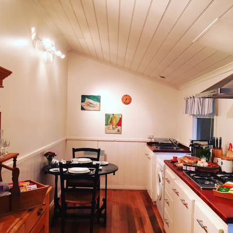 Your cosy country kitchen, fully equipped so you can stay for a weekend, a week or a month. Including washing machine and dryer.