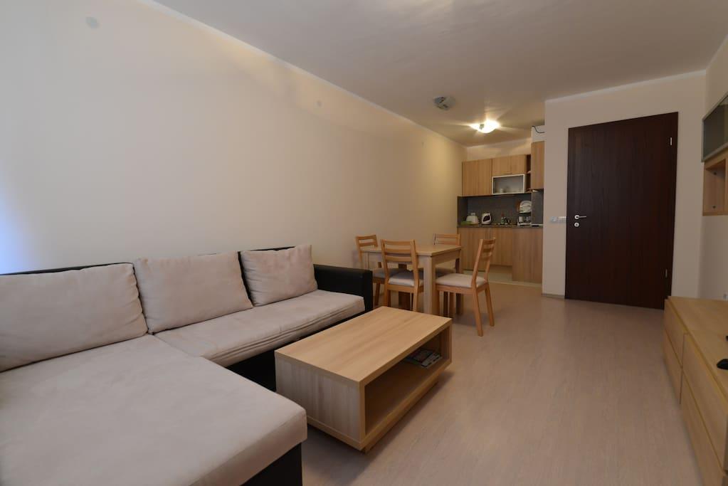 Гостиная, столовая и кухня объединены в одну комнату / Living room, dining room and kitchen combined into one room