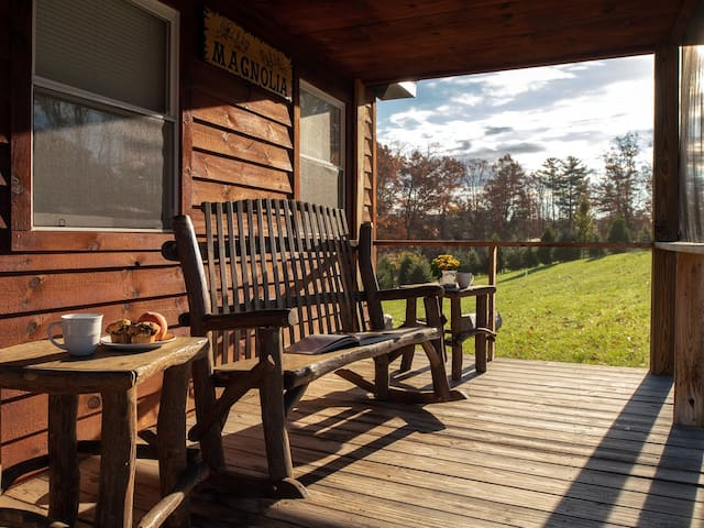 Front porch with double rocking chair