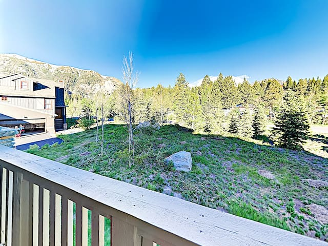 Mountain views await on the private balcony, where there's seating for 2 and a gas grill.