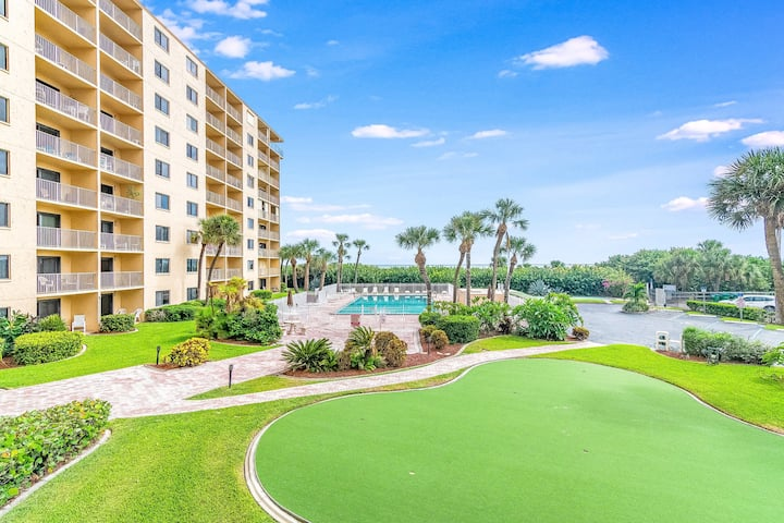 Cape Canaveral ocean view condo w/ direct beach access & a shared pool