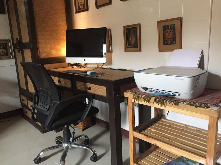 Office with printer and lounge