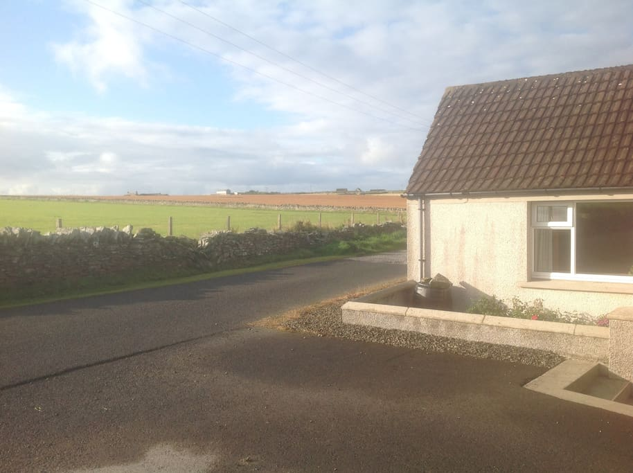 Parking outside and view over farmland