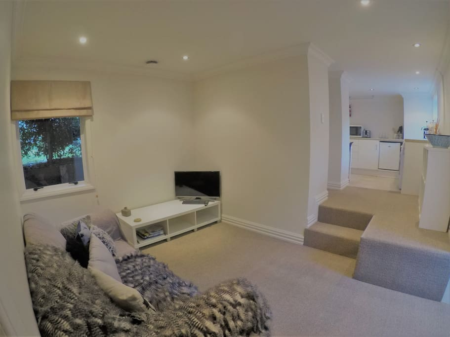 Private living area with sofa and TV.