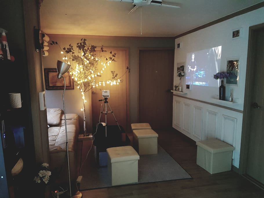 Living Room with Beam Projector