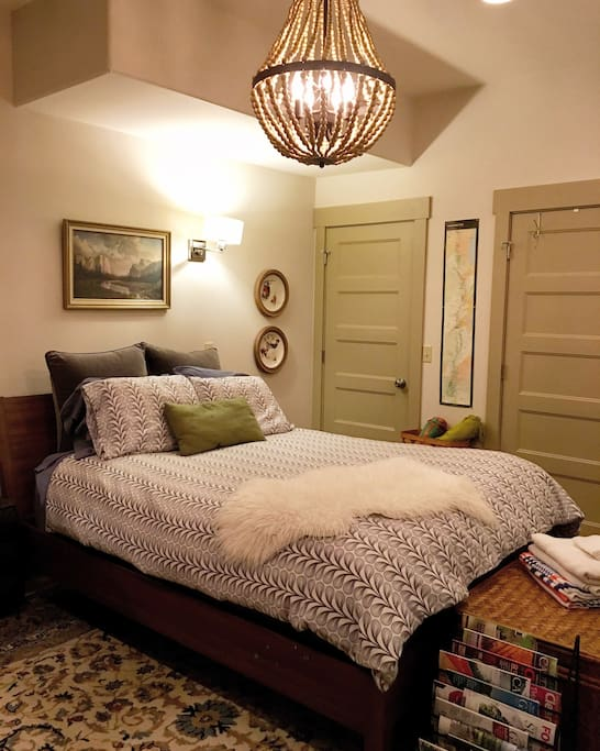 Queen sized bed with soft pillow top mattress