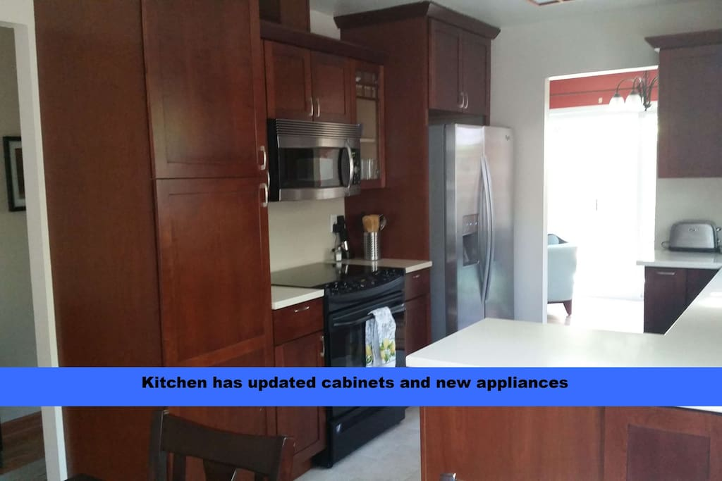 Modern updated kitchen with stainless steel appliances, pull out shelves and Corian counters