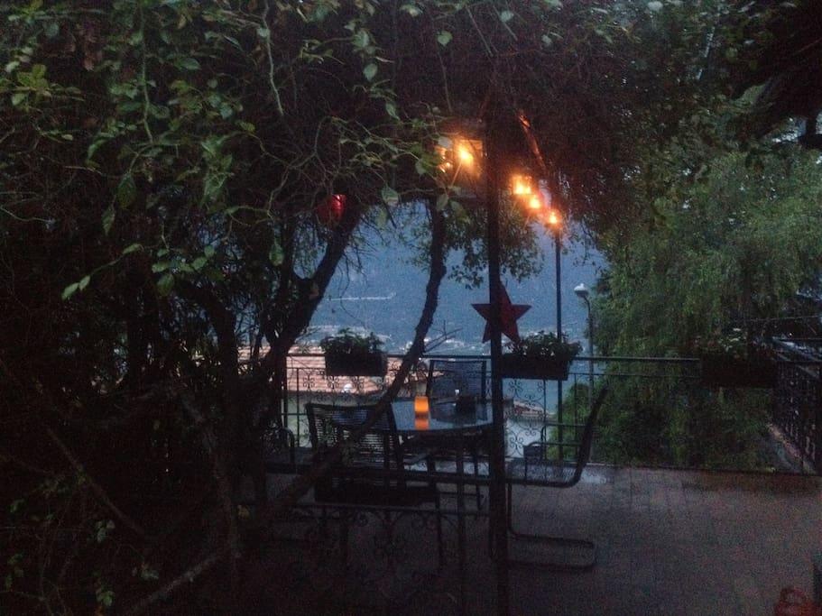Terrace at twilight