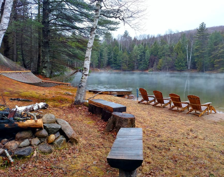For your use- fire pit, hammock, adirondack chairs, pond