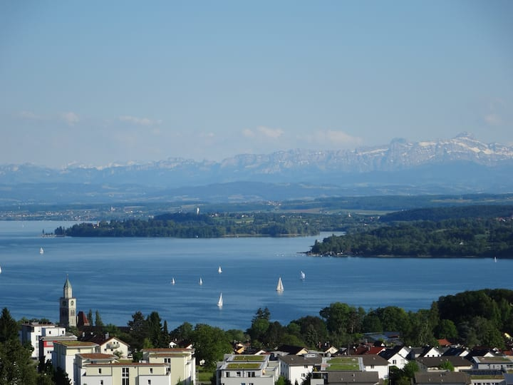 Ferienwohnung mit Seesicht und Alpenpanorama