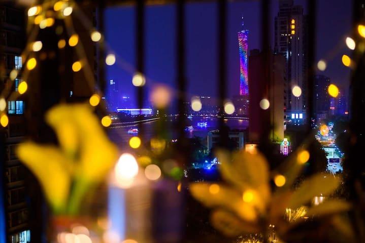 【路客】『璀璨珠江夜景』海风观景台|正望广州塔|珠江夜游|中山大学|天河CBD|【2居】