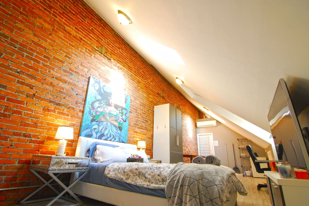 The space is flooded with natural light with two skylights that also have black out shades than can be closed when you want to sleep in.
