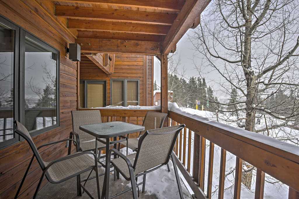 Sip your steaming mug of coffee from the condo's private deck.