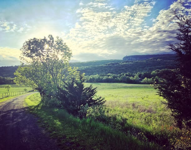This easy hike is a 2 minute drive from our house - Lenape Lane.  (This is not the view from our house, but it is around the corner)