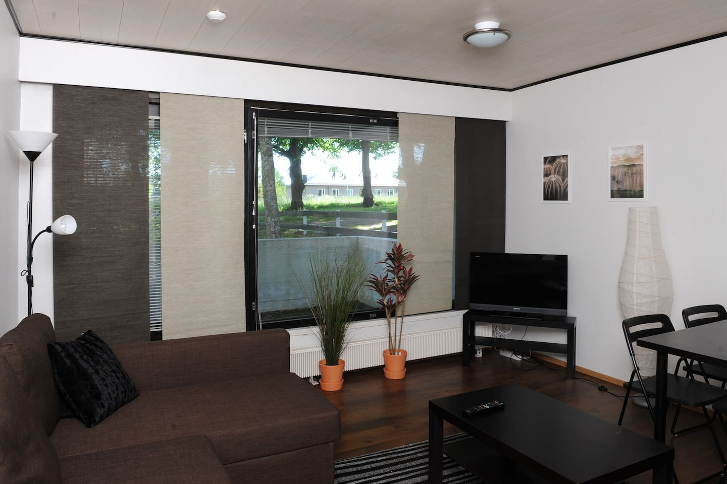Living room and the view to backyard.