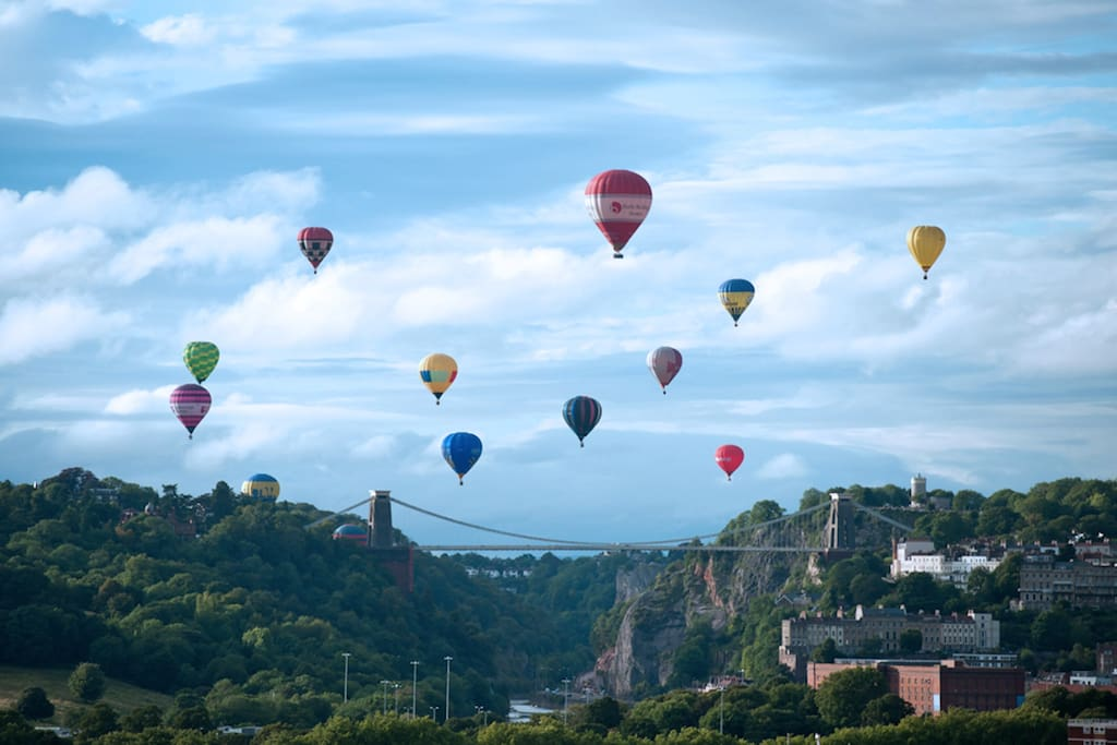 The famous Clifton Suspension Bridge and Bristol's famous balloons
