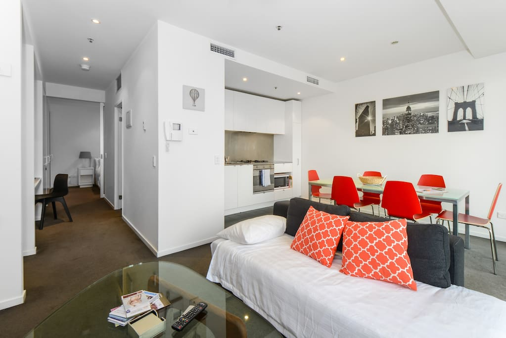 Stylish Sofa doubles as a single sofa bed - super comfy!