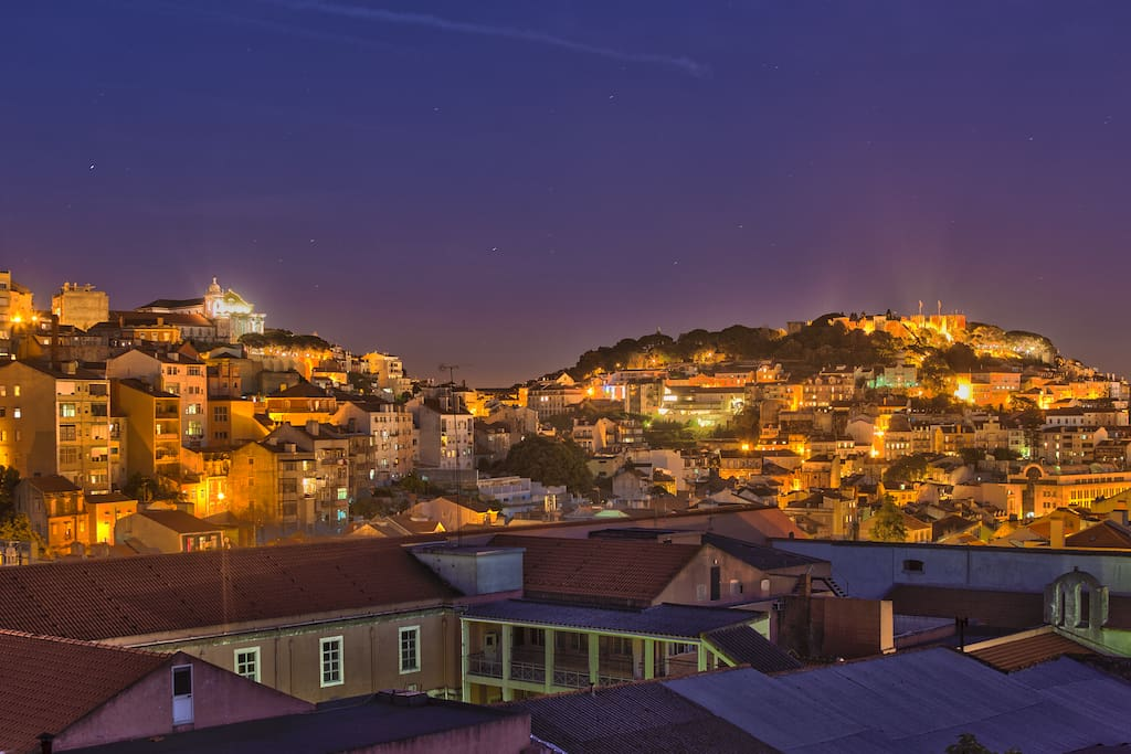 Lisbon by night from the living room