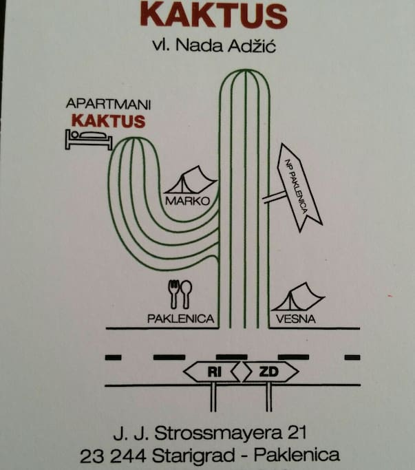 """A """"cactus road"""" map, the easiest way to find us"""