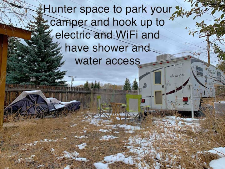 Park your camper, hunters refuge from the snow.