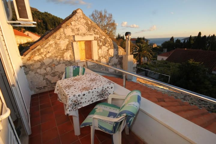 Studio flat with balcony and sea view Trsteno, Dubrovnik (AS-8594-a)