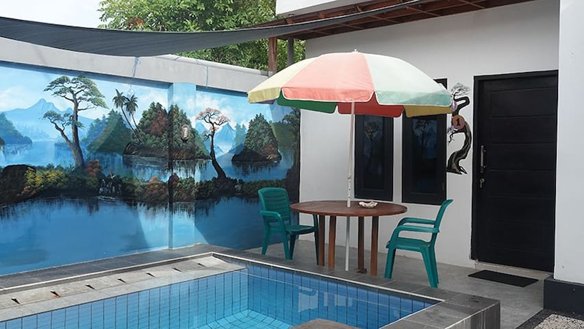 Wave House Gerupuk Lombok Room 1 QS Bed Pool Side