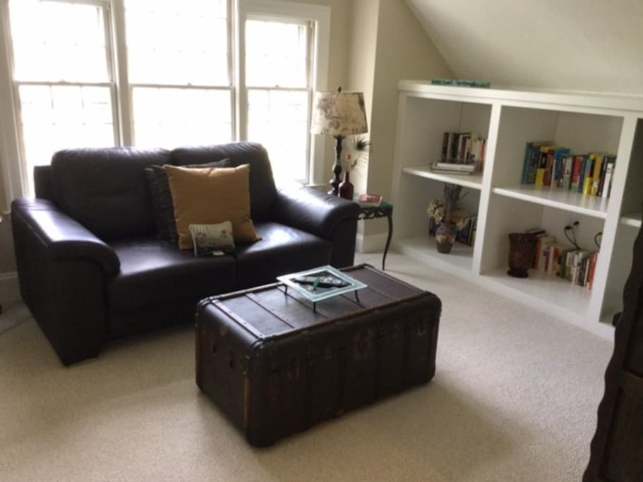Bright Sitting Area with Bookcase