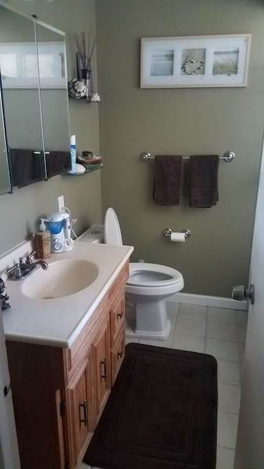 Shared Bathroom with full size tub/shower.