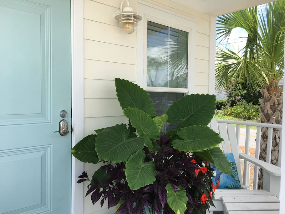 """Life Is Good"" Tropical Flowers On Private Porch"