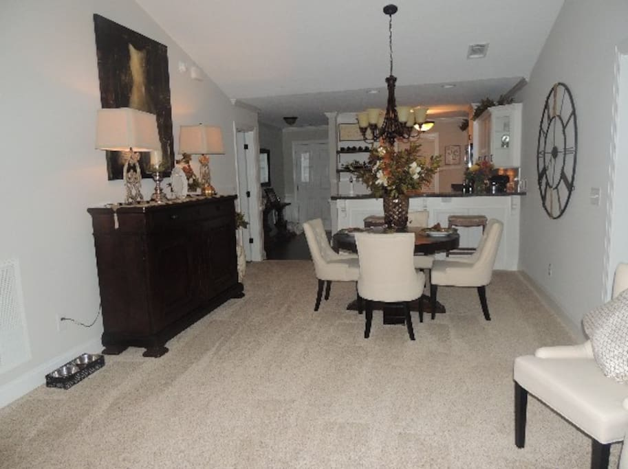 Open Concept View of Dining & Kitchen Areas