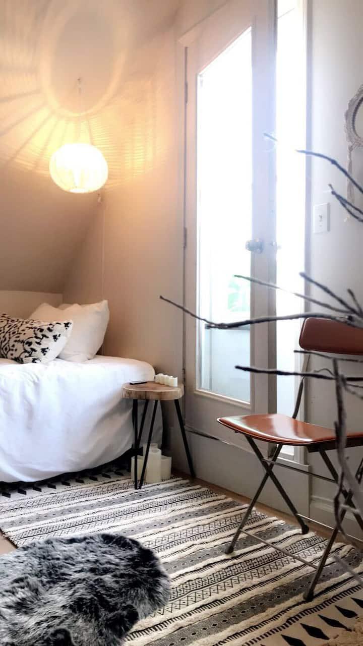 Stylist loft room w/private deck.