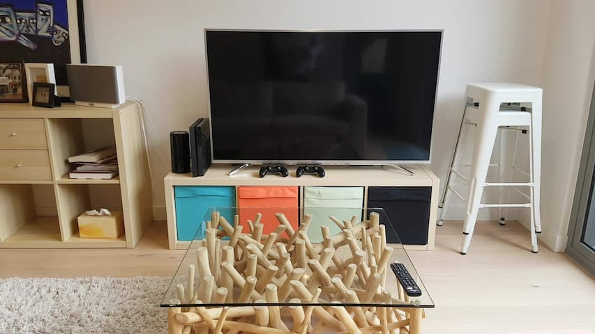 Entertainment hub - HD TV with Netflix, YouTube, PlayStation 4, and a selection of DVDs and video games