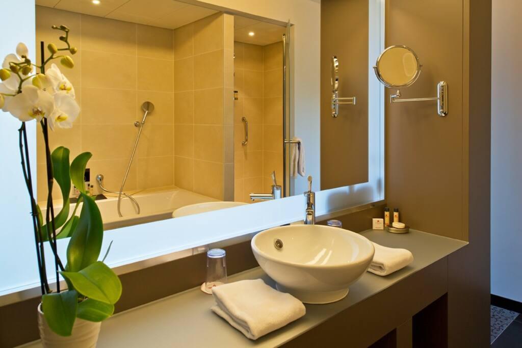 Salle de bain avec douche et baignoire, un WC séparé
