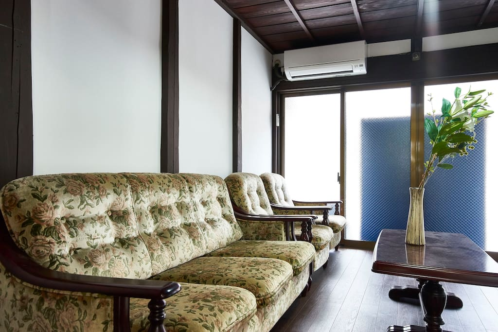 room with antique sofas