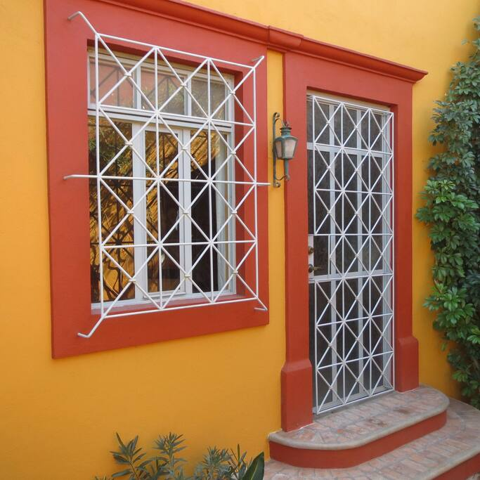 "Your private entry door to your ""studio apartment"" casita on the terrace level of our property."