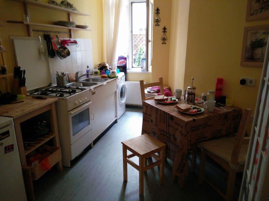 Kitchen, washing machine oven, gas, small fridge
