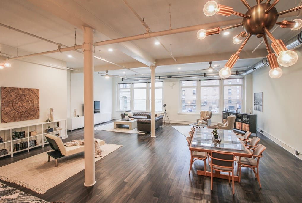 Our loft is set up for many settings, but lounging is our favorite. We allow small events. Inquire about hosting a meeting or social event in our 1100sf living area, making up half of the 2200sf loft.