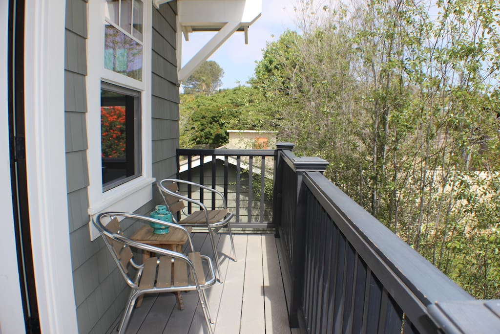 Sunny bright deck and seating area