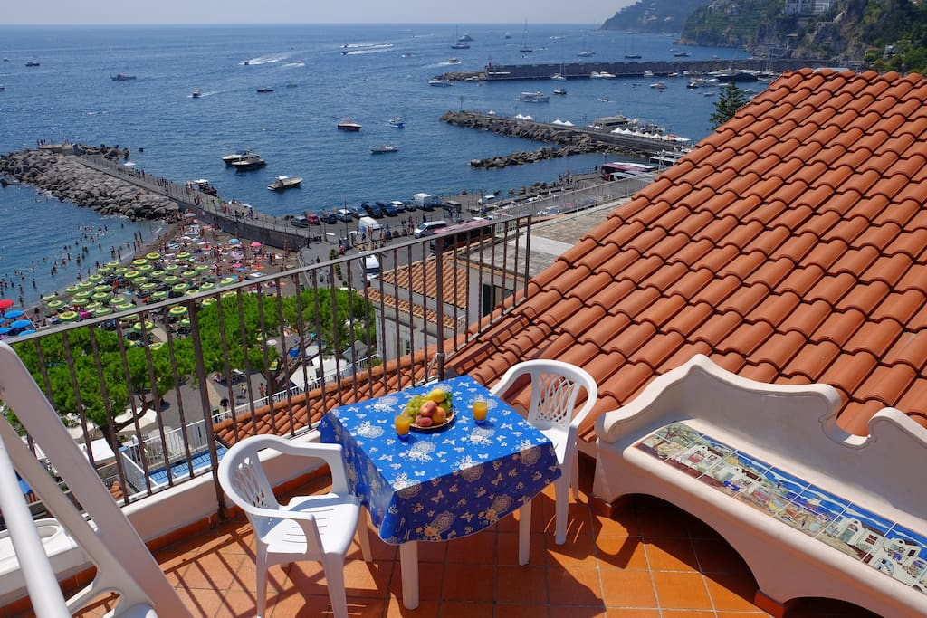 Terrace overlooking Amalfi's main beach
